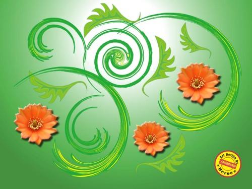 Bingkai dan beground indah » Batik Motif Flora-Lingkar-3
